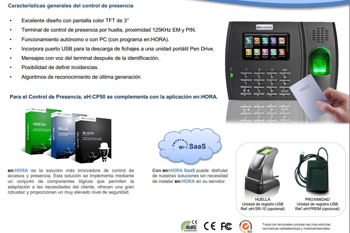 eH-CP50 control de presencia laboral